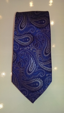 Royal Blue and Black Paisley Silk Tie