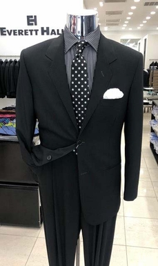 Black Wool Serge Two Button Suit