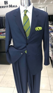Blue Iridescence Wool Suit