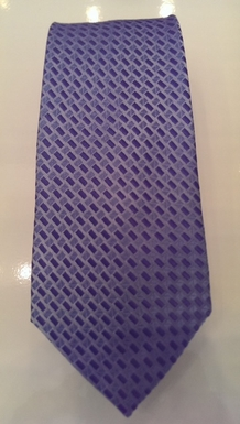 French Blue and Powder Blue Textured Check Silk Tie