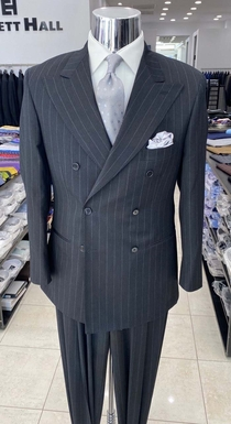 Charcoal Pinstriped Double Breasted Wool Suit