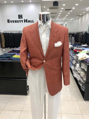 Burnt Sienna Linen & Wool 2 Button Sport Coat