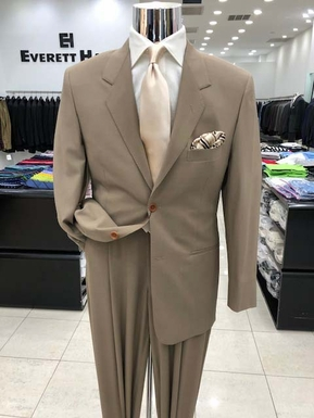 Tan High Twist Wool Tropical Weight 2 Button Suit