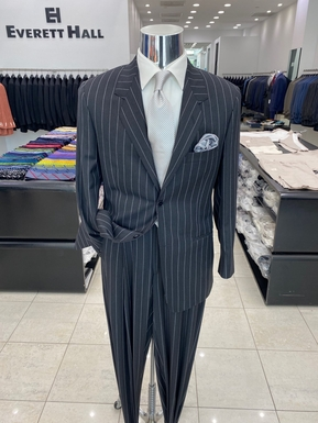 Charcoal Grey and White Pinstripe