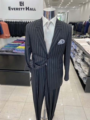 Charcoal Grey and White Pinstripe Suit