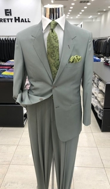 Light Olive Wool Tropical Weight 2 Button Suit