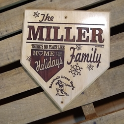 Home for the Holidays Personalized Baseball Plaque
