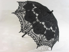 26 Inch Black Lace Parasol with Black Wood Handle