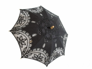 21 Inch Embroidered Black Lace Parasol