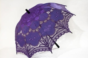 26 Inch Purple Lace Parasol with Black Wood Handle