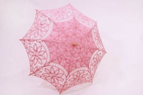 21 Inch Pink Lace Parasol
