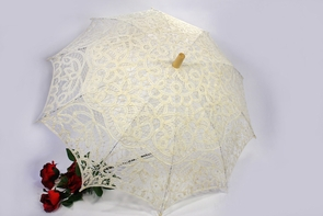 26 Inch Ivory Lace Parasol