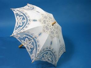 21 Inch Ivory Lace Parasol