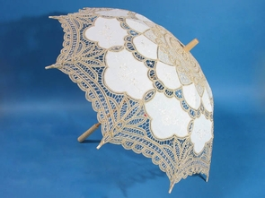 26 Inch Gold and White Lace Parasol