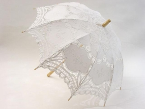 26 Inch White Lace Parasol with Embroidery