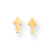 14K Madi K Polished Tiny Cross Screwback Earrings