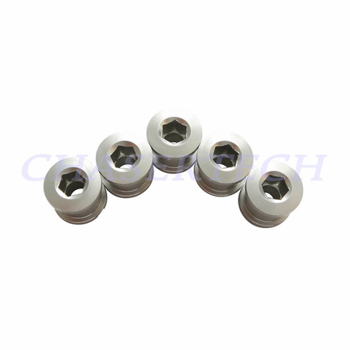 Bicycle Alloy Single Speed 6.5mm Chain Ring Bolt Nut Set Silver