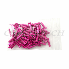"Bicycle 7075 Alloy Spoke Nipples 2.0mm 14G 5/8"" 100 Pcs Hot Pink"