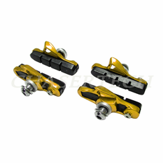 Road Bicycle Caliper Cartridge Brake Pads Shoes Gold 2 Pairs