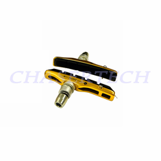 Bicycle V-Brake Hollow Bracket Cartridge Pads Shoes Gold 1 Pair