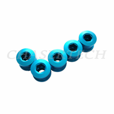 Bicycle Alloy Single Speed 6.5mm Chain Ring Bolt Nut Set Blue