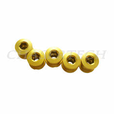 Bicycle Alloy Single Speed 6.5mm Chain Ring Bolt Nut Set Gold