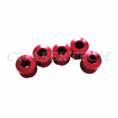 Bicycle Alloy Single Speed 6.5mm Chain Ring Bolt Nut Set Red