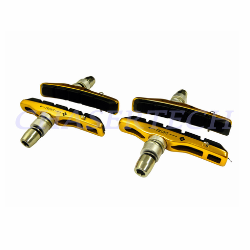Bicycle V-Brake Hollow Bracket Cartridge Pads Shoes Gold 2 Pairs