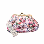 The Vintage Cosmetic Company Cosmetic Clutch Bag Pink Floral Satin