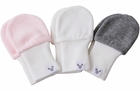 Baby Girl Mittens, 6 to 12 months, fits larger hands, soft cotton, value pack set of 3 - pink, grey white