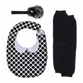 Cute Baby Gift Set in Black - Vintage Print Bib, Black Flower Headband, and Black Leg Warmers