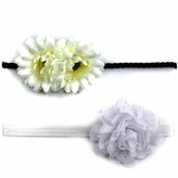 Celine's White Mommy & Me Matching Flower Headband Set