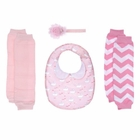 Pretty in Pink Baby Gift Set - Bib and Leg Warmers