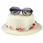 Baby Sun Hat: Zoey's Straw Floral Baby Fashion Hat - White