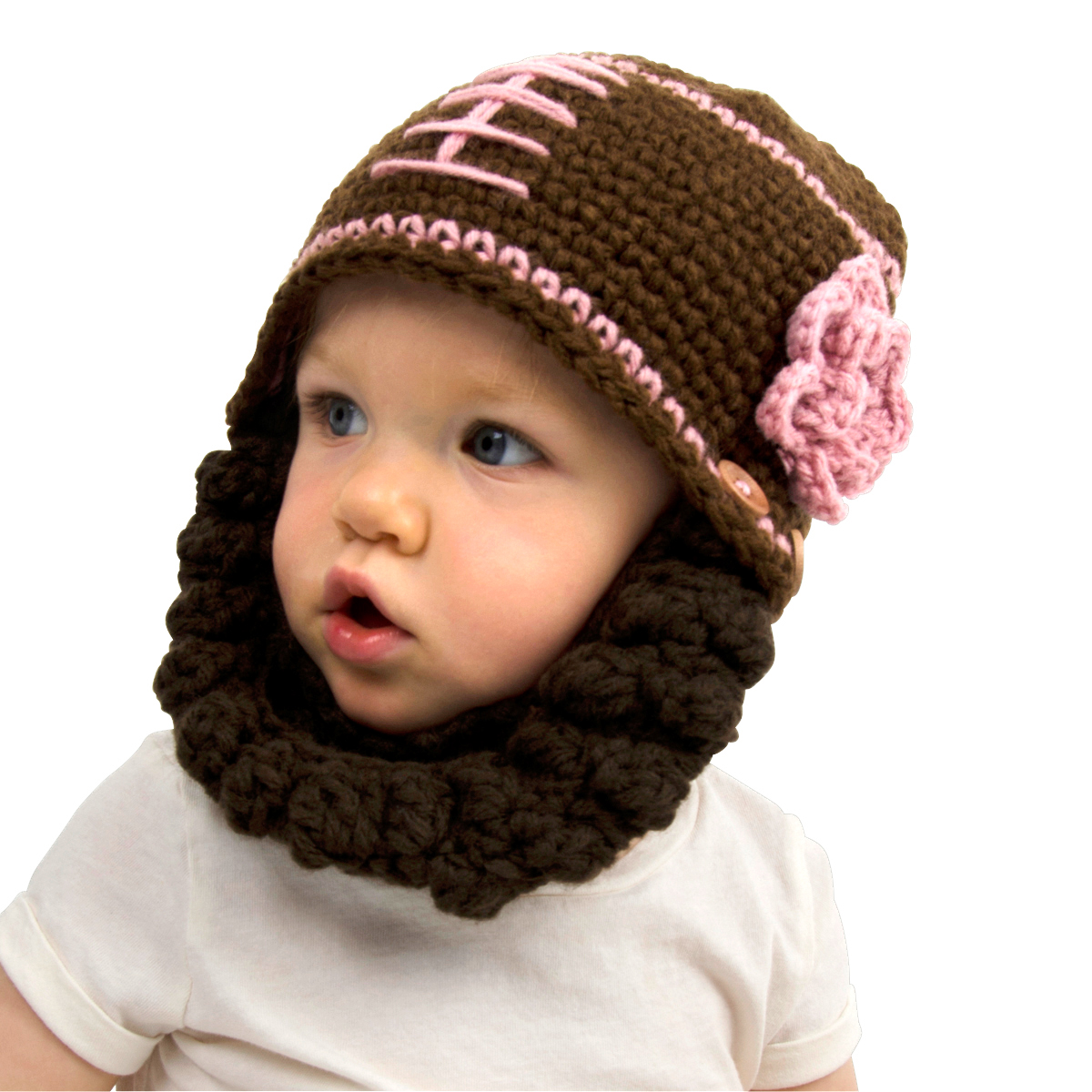 c8c15b8dc6e44 Brown and Pink Football Beanie with Beard - Girl Boy Toddler Kid ...