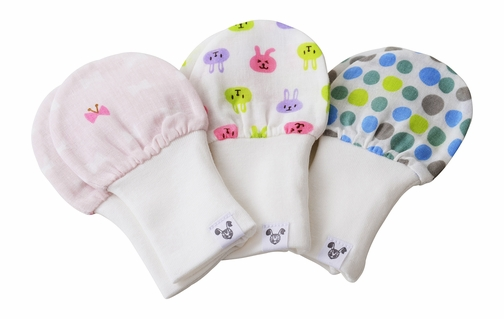 Baby Girl Mittens, Fits Age 6 - 12 Months, 3 Pack, Dots, Bows, and Bunnies
