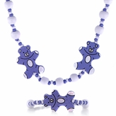 Purple Wooden Necklace and Bracelet Set - Teddy Bear