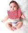 Reversible Bib Baby Gift Set: Vintage Style Floral Print with Scalloped Collar - Red and Black