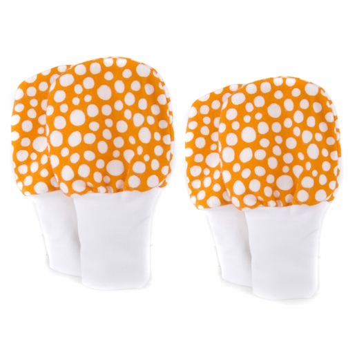 Stay On Baby Mittens Set of 2 Sizes (0-6m & 6-12m) - Orange Dots