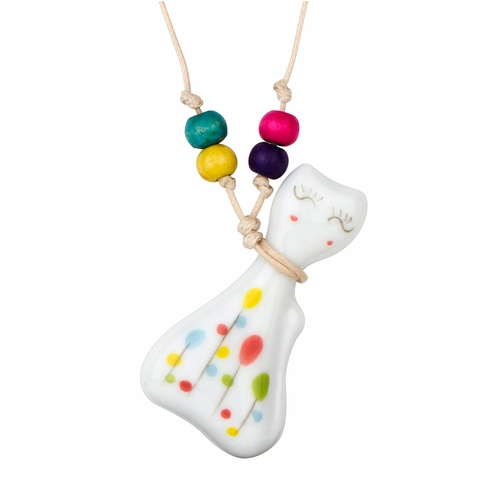 Kids Ceramic Porcelain Hand Painted Sweater Cat Pendant with Adjustable Necklace
