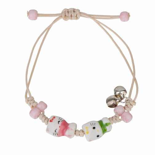 Little Girls Ceramics Porcelain Hand Painted Double Kitty Cat with Bell Charm Bracelet
