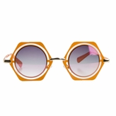 Leah's Little Girl Hexagon Frame Orange UV400 Sunglasses