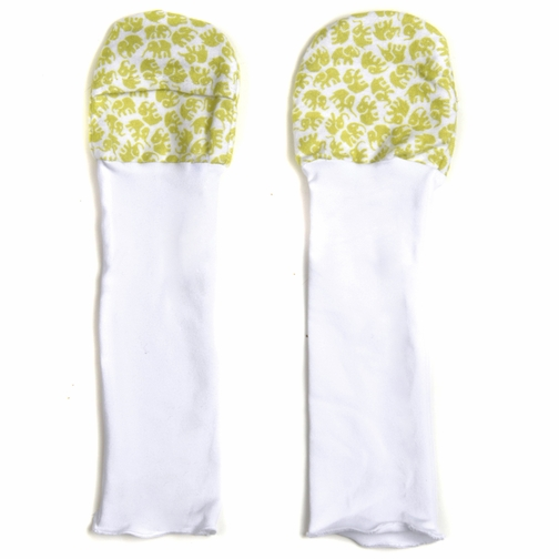 *SOLD OUT* Baby Mittens with Flap and Extra Long Cuff, Green Elephant 0-6m