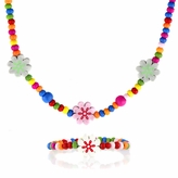 *SOLD OUT*Multicolor Wooden Necklace and Bracelet Set - Flower