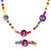 Multicolor Wooden Necklace and Bracelet Set - Little Girl