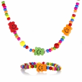 Multicolor Wooden Necklace and Bracelet Set - Happy Face