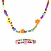Multicolor Wooden Necklace and Bracelet Set - Petite Flower