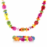 Multicolor Wooden Necklace and Bracelet Set - Alphabet