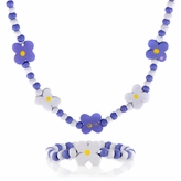 Purple Wooden Necklace and Bracelet Set - Flower