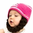 Pink Football Beanie with Beard - Girl Boy Toddler Kid (Large)